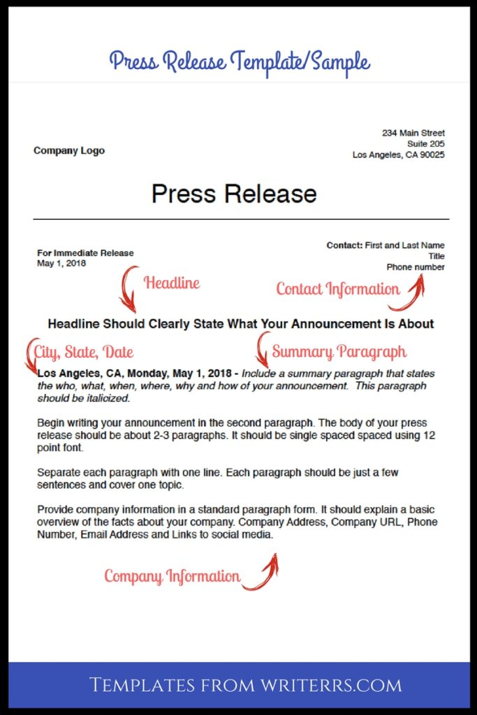 Press Release Samples Tips Templates From The Pros