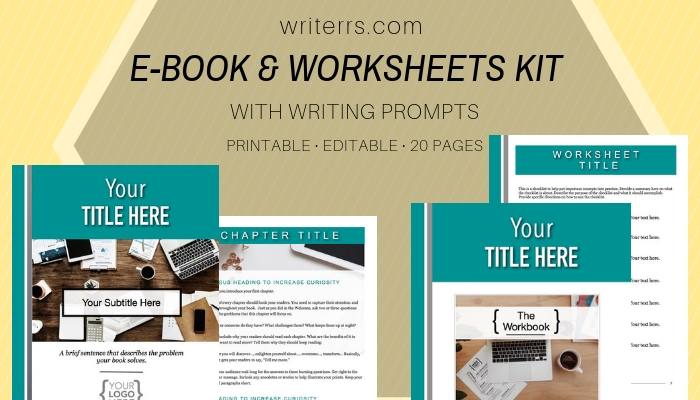 e book and worksheets template kit writerrs